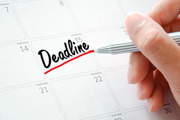 Deadline text on the calendar (or desk planner)