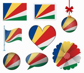 Seychelles flag set of 8 items vector