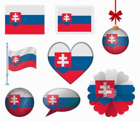 Slovakia flag set of 8 items vector