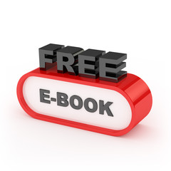 Free E-Book Sign On White Background
