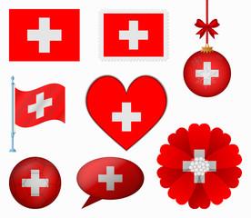 Switzerland flag set of 8 items vector