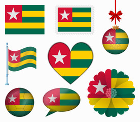Togo flag set of 8 items vector