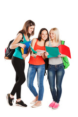 students, friends standing together on a white background