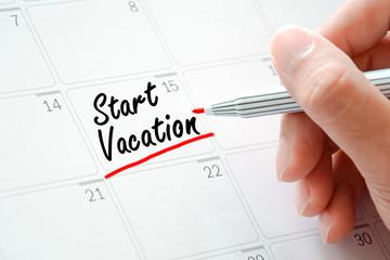 Start Vocation text on the calendar (or desk planner)