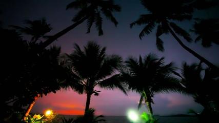 Evening mood in Koh Samui view on sky, lantern and palm. Rainy