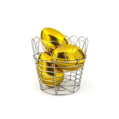 Golden eggs in basket
