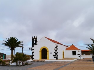 The white small church of the village Lajares