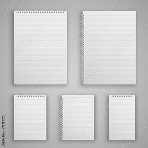 Set blank realistic spiral notepad - 78583470