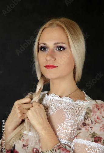 canvas print picture Beautiful young blond woman