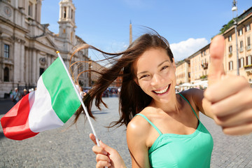 Italian flag happy tourist woman in Rome, Italy