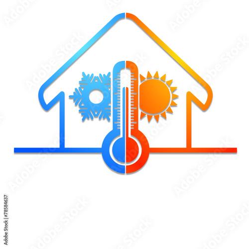 logo isolation chauffage climatisation dans la maison fichier vectoriel libre de droits sur la. Black Bedroom Furniture Sets. Home Design Ideas