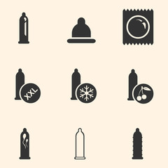 Vector Set of Condom Icons. Types of Condoms.