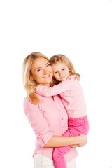 Close up portrait of happy beautiful young mother with little
