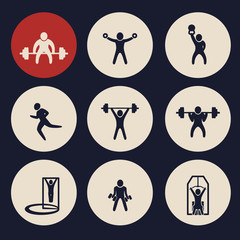 gym exercises round icons vector illustration, eps10