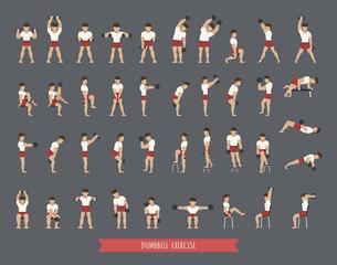 Set of dumbbell exercises
