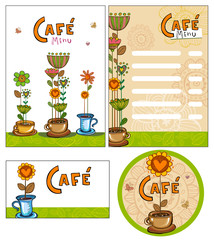 Corporate style for cafe or shop.