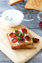 Italian bruschetta with sun-dried tomatoes