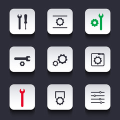 settings, configuration, preferences silver rounded square icons