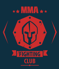 MMA Fighting Club scratched emblem with spartan helmet, vector
