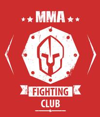 MMA Fighting Club grunge emblem with spartan helmet, eps10