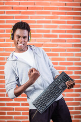 Hacker or computer programmer with laptop