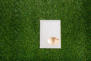 White book with two gold hearts lying on the gren grass