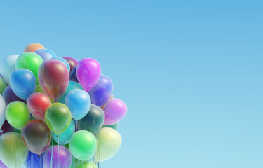 Colorful balloons flying up against the sky