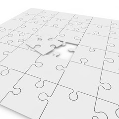 Puzzle with one fallen