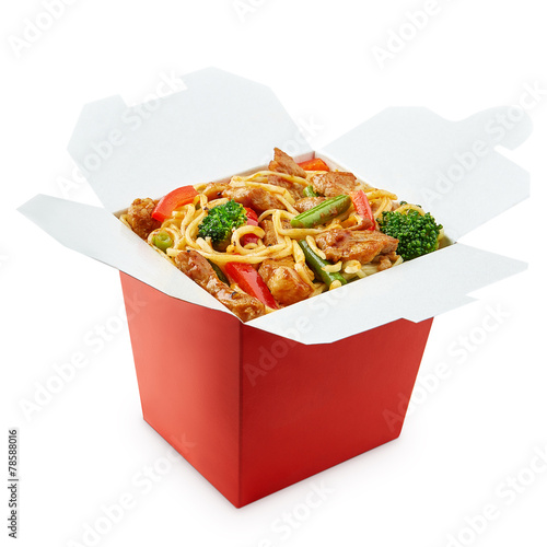 Grocery Perfect wok noodles box with chopsticks