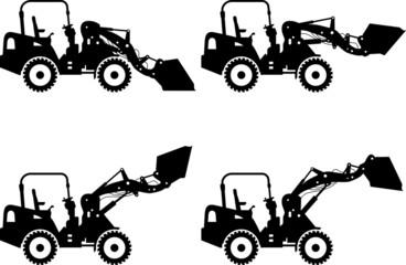 Skid steer loaders. Heavy construction machines. Vector