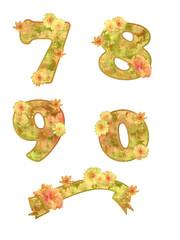 Goldgelbe Blumen Buchstabenset 7-0