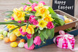 canvas print picture - spring flowers bouquet with easter eggs