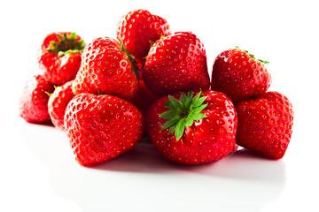 strawberry on white reflexive background