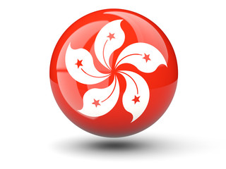 Round icon of flag of hong kong
