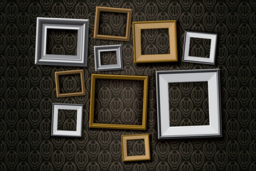Realistic retro picture frames vector set background