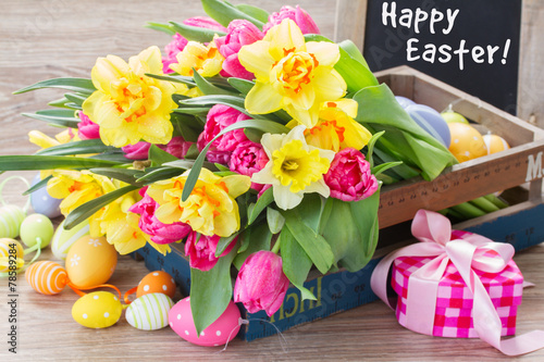 canvas print picture spring flowers bouquet with easter eggs