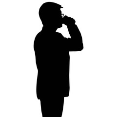Silhouette businessman drinking a cup of coffee