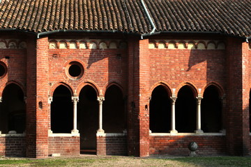 Cloister in Chiaravalle Abbey Milano Italy