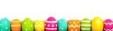 Colorful long Easter egg border against white