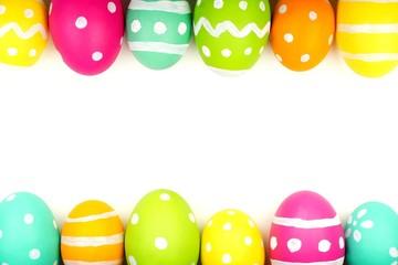 Colorful Easter egg double edge border against white