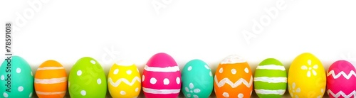 canvas print picture Colorful long Easter egg border against white