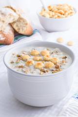 Creamy New England style clam chowder