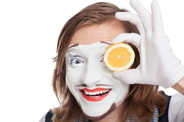 mime actor attaching to face lemon