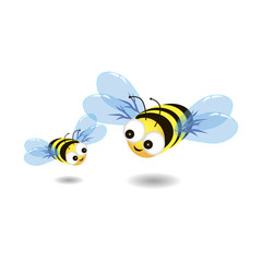 Bees on white background