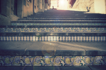 Caltagirone Staircase, in Sicily. Vintage Effect.