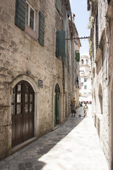 Narrow alley in the old town of Kotor