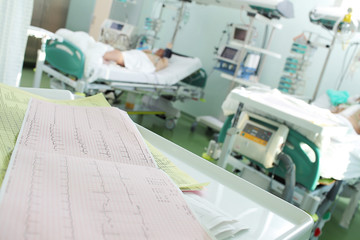ECG close-up on a background of patients in intensive care as a