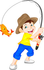 cute boy fishing cartoon