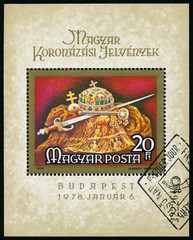 Stamp printed in Hungary shows a Holy Crown Jewels