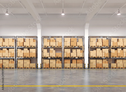 3d rendered warehouse with many racks and boxes